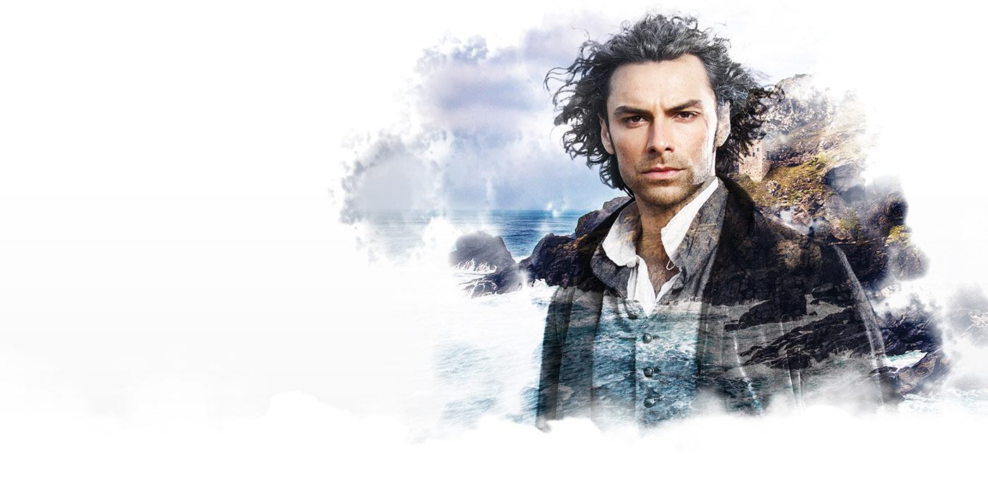A double exposure image of our hero Ross Poldark, (played here by Aidan Turner) with an image of a rugged Cornish coastline behind.