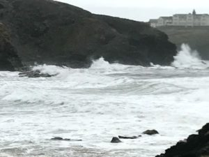 winter in cornwall - stormy sea